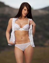 Talia Shepard teases out of her sheer white lingerie