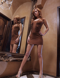 Kato,Long Legs and All,Kato looks just like a fashion model except for the fact that her pussy is peaking out from under the dress...