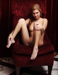 Kato,Red Velvet,Kato shows off her incredible body as she rubs against a plush red velvet chair.