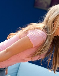 Kayden Kross pops out of her tight pink shirt